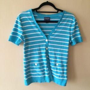 Chaps Classic Striped Short Sleeve Cardigan